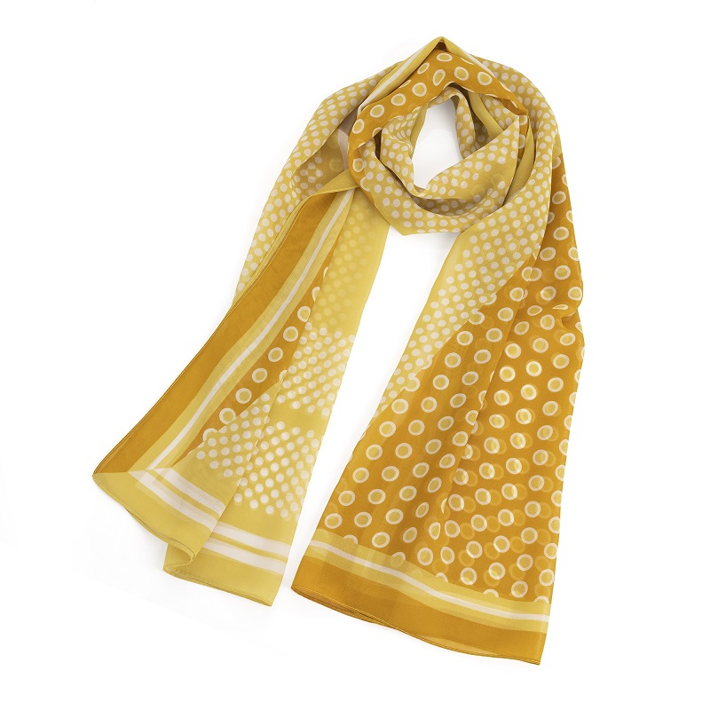 Yellow and white polka dot design scarf