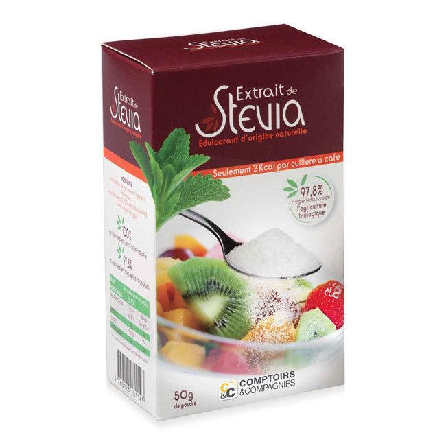 Edulcorant à base de Stévia en poudre - Boîte de 50g
