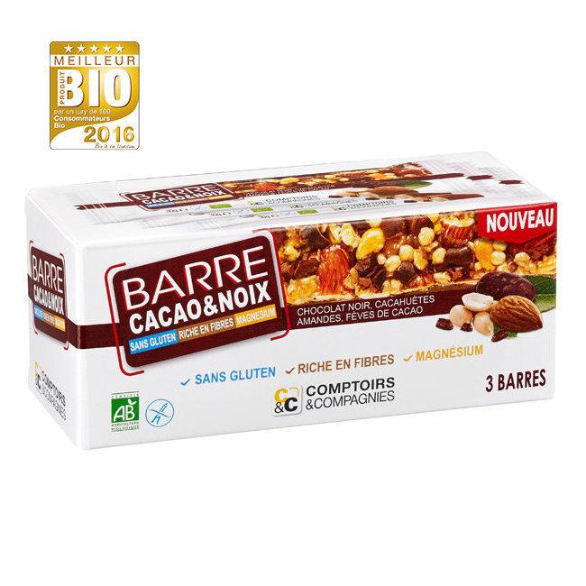Barre de céréales bio Cacao et Noix sans gluten - Boîte de 3 barres