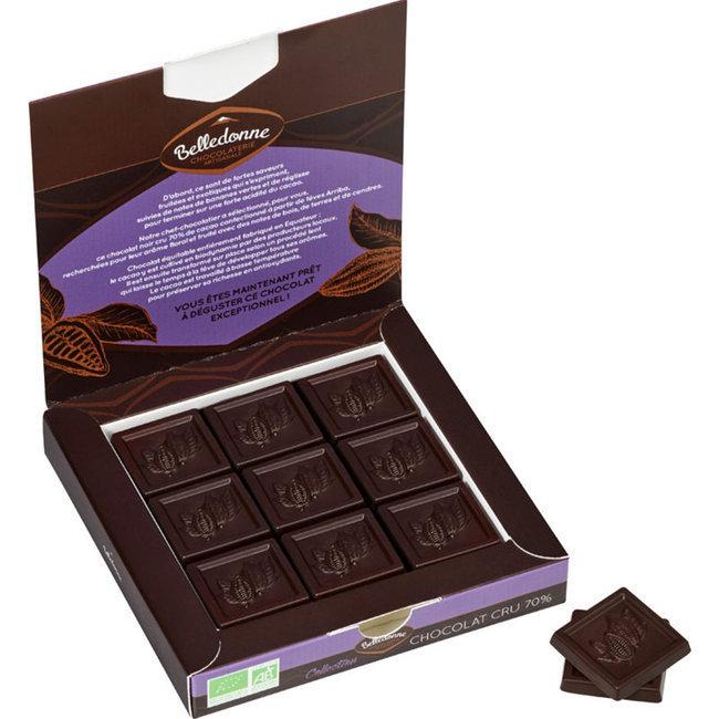 Coffret 18 carrés Chocolat cru Noir 70% bio et équitable - 90g