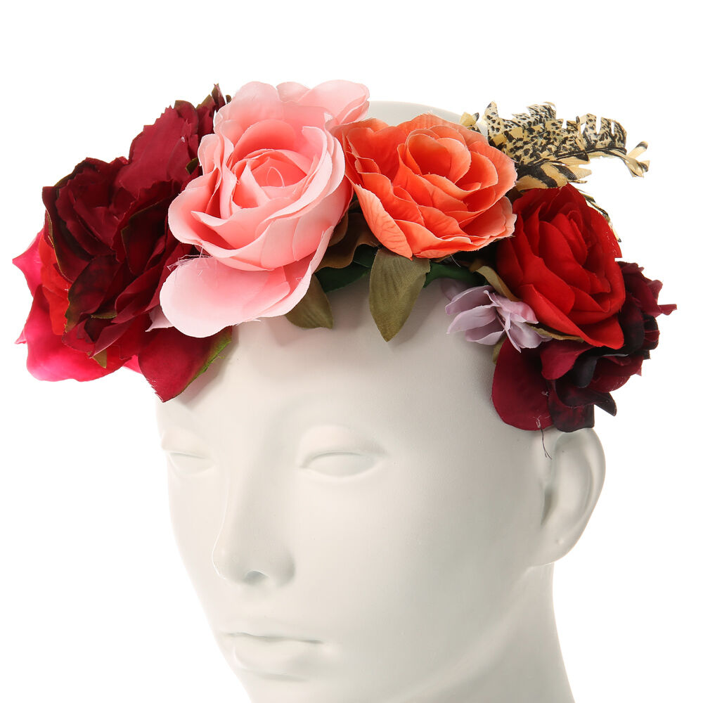 Rosy Red Oversized Flower Crown Claires