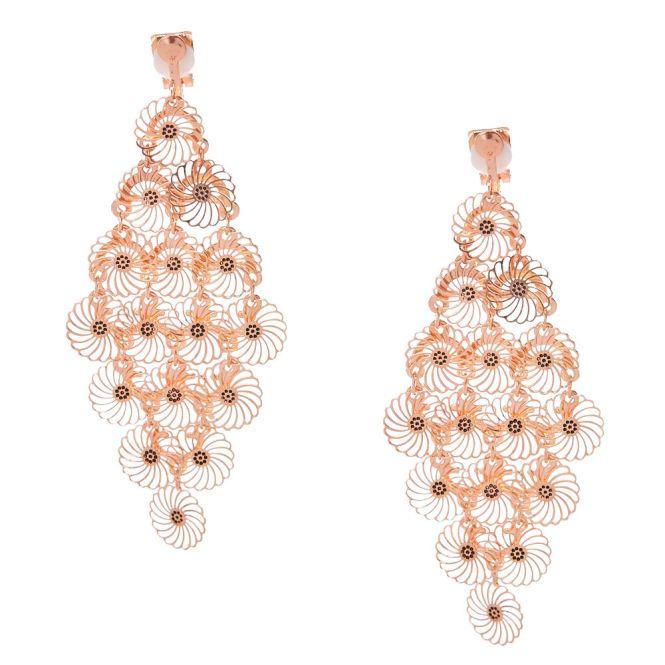 Rose Gold Tone Filigree Flower Clip On Chandelier Drop Earrings
