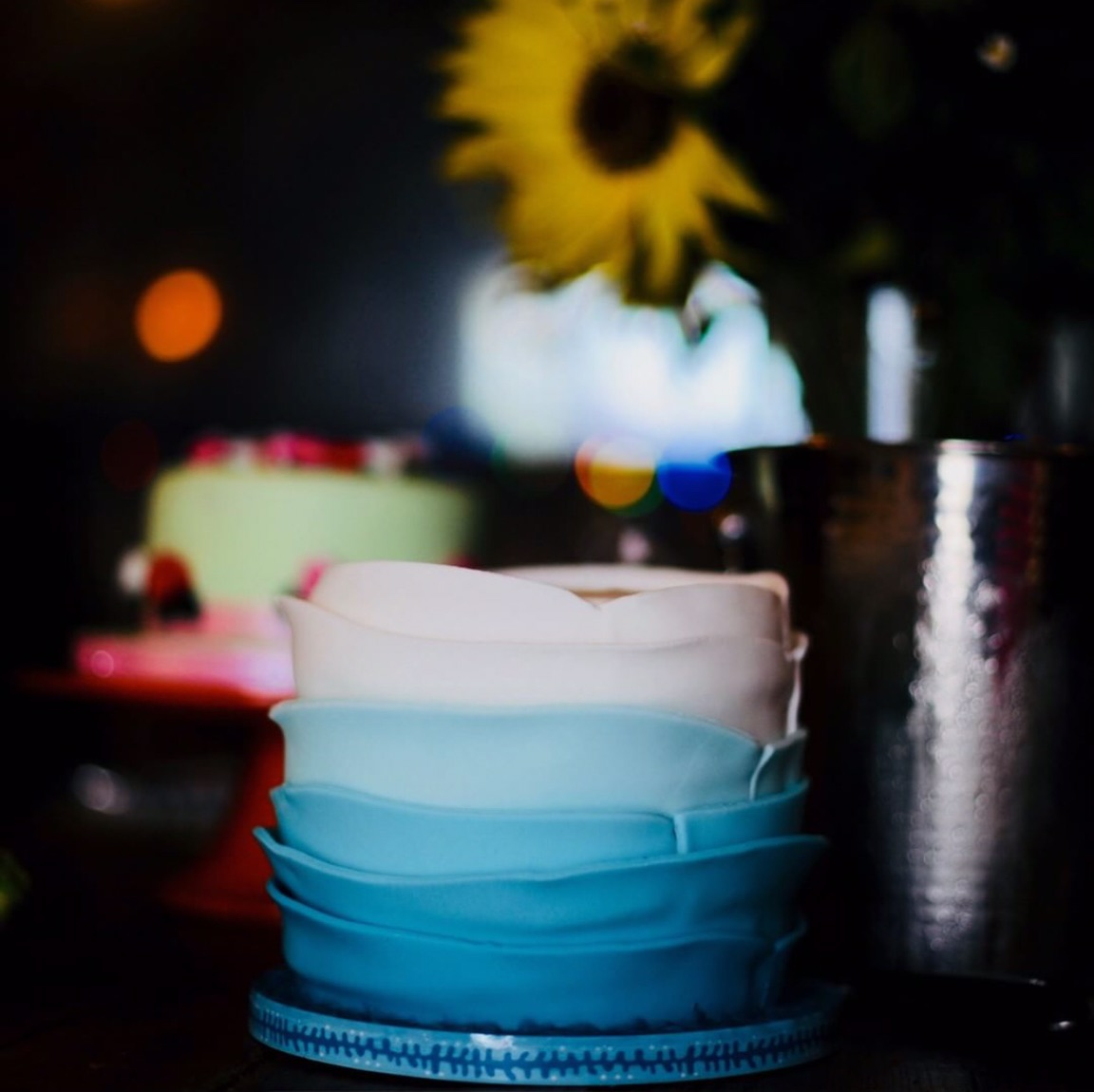 Ombre blue elopement cake