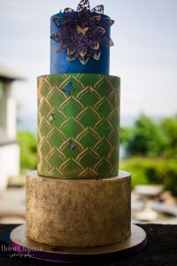 Peacock coloured wedding cake