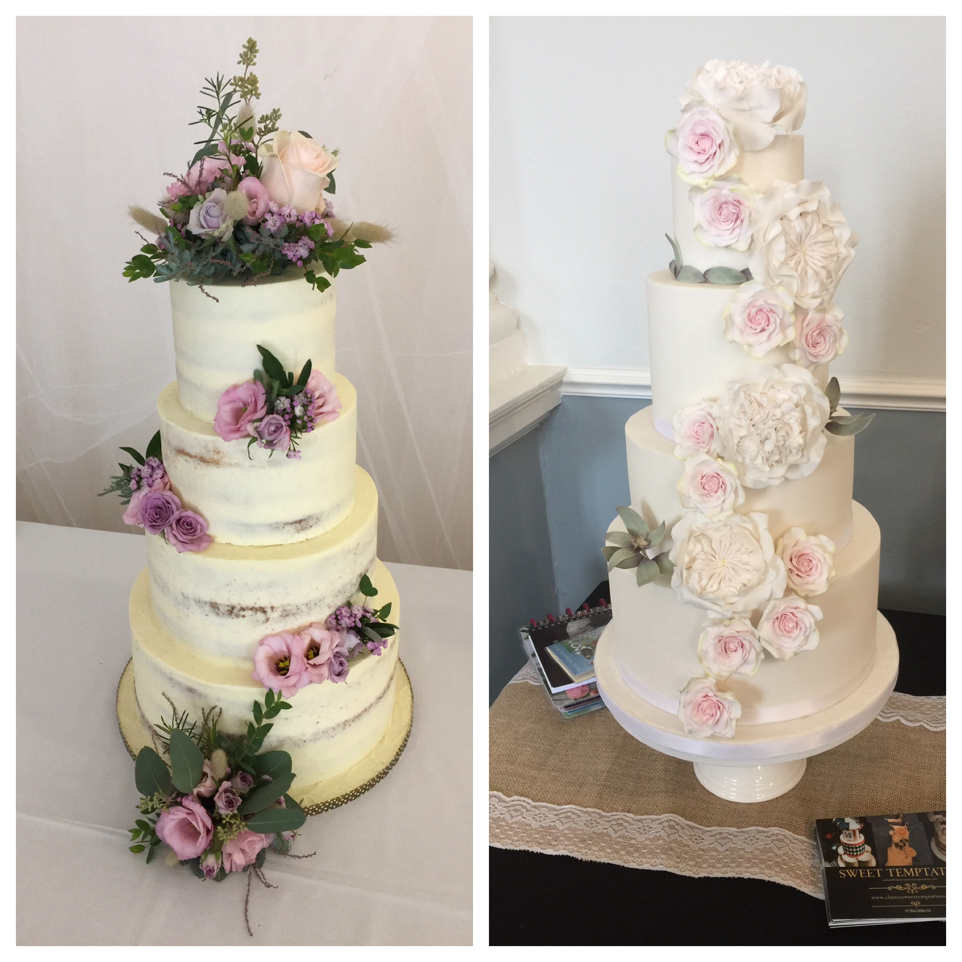 Semi naked and fondant wedding cakes