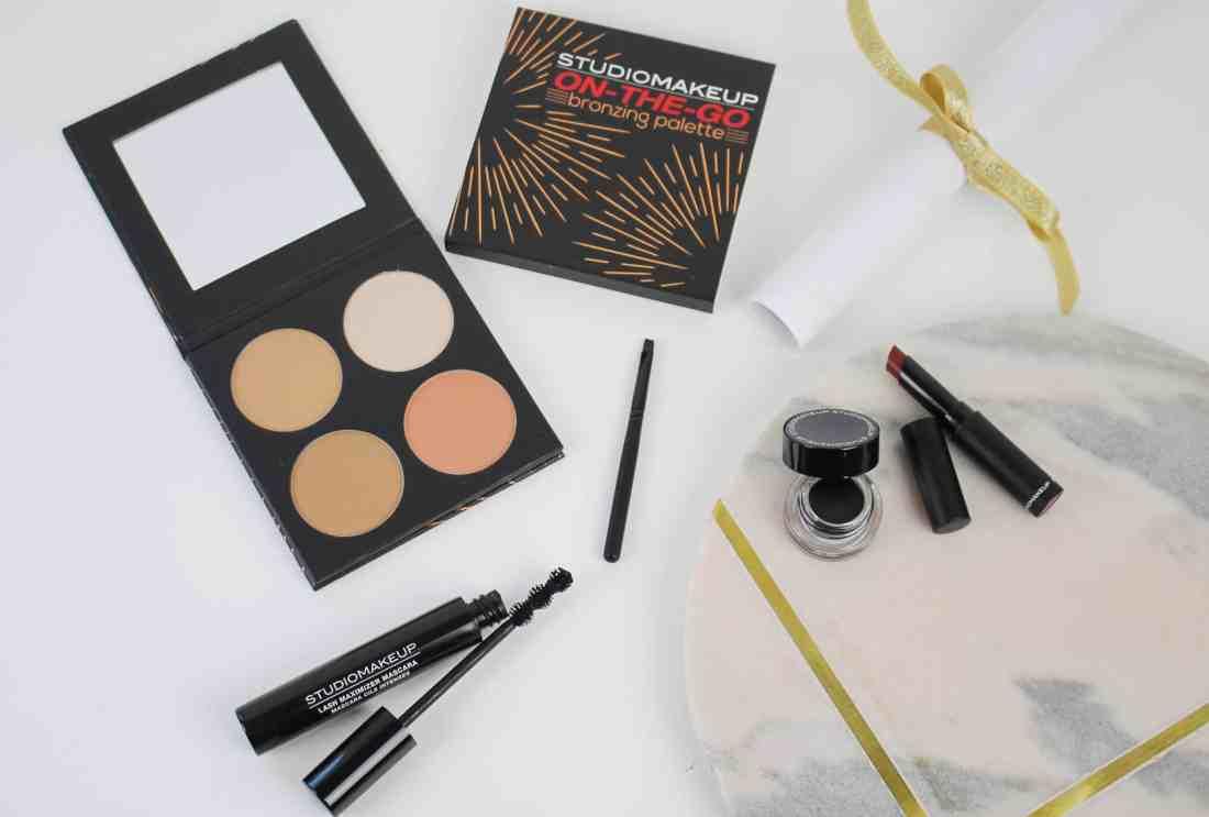 studio makeup Lash maximizer mascara annd long wear gel eyeliner and velour lipstick and on the go bronzing palette