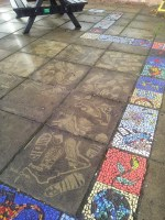 Education: St Augustine's Catholic High School, jet washed pavement design with laser cutter, part of a Y6-Y7 transition project