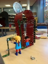 Designs for a meccano portal at Maghull Library