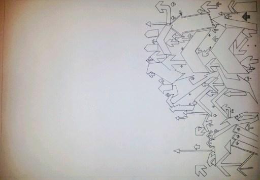 """Left"" Pen on paper. 50x35cm £150"