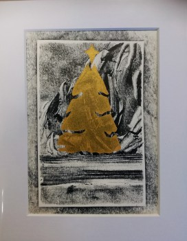 Christmas 2017, Gold screenprint on monotype, 12x17cm, unique, £3