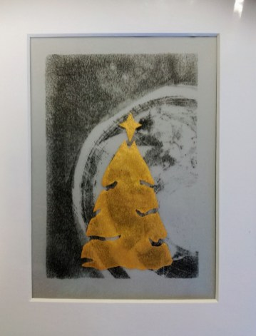 SOLD Christmas 2017, Gold screenprint on monotype, 12x17cm, unique, £3