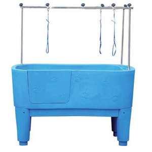 Vasca toelettatura cani in polietilene fissa su piedi blu