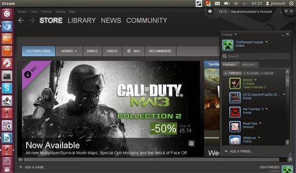 Mock-up do Steam no Ubuntu