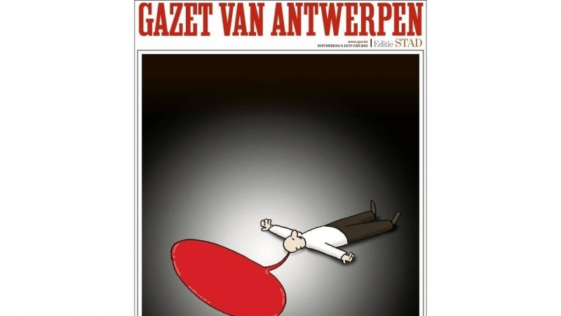 Capa do jornal belga Gazeta da Antuérpia.