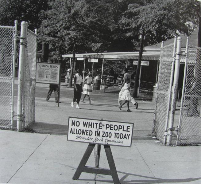 Aviso colocado em frente ao zoológico de Memphis no único dia em que os afro-americanos foram autorizados a visitar o local