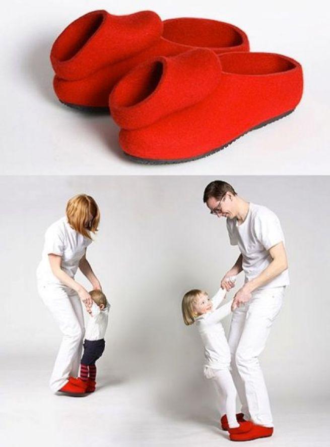 16. Este par de calçados para quatro pés para você se entreter com seus filhos