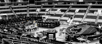 Setting up for Bon Jovi