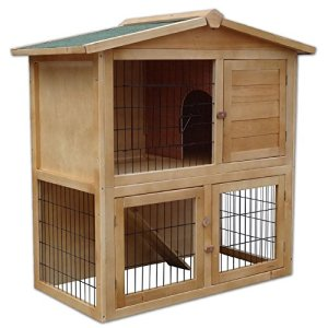 Dibea Clapier en Bois Spacieuse 2Etages Cage à 3Portes pour Lapin/Hamster/Cochon d'Inde 98x 54x 100cm