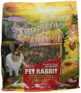 F.m. Marron de carnaval Tropical Gourmet Animal de lapin Nourriture avec High-fiber Timothy et Alfalfa Granulés de foin, probiotiques pour la santé digestive, Vitamin-nutrient Fortifié Daily Diet, 2,3kilogram