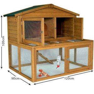 Clapier à lapins/cochons d'Inde– 1,2x 0,9m – Deux étages avec grand espace inférieur – The Pet House Co