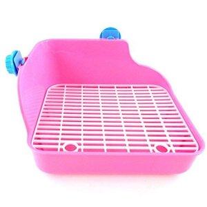 Kentop Animal Domestique Toilettes bac à litière Maison de Toilette Litière d'angle Boîte à litière de Lapin Toilette Pet Toilet Petits Animaux Hamster Lapin Cochon d'Inde Vert (Rose)