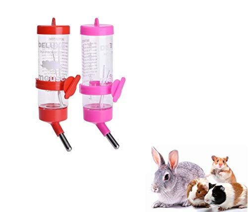 Ducomi® Lot de 2Distributeur à Biberon avec système de sécurité Anti-Goutte et Dispositif de Fixation–Abreuvoir pour Hamster, Lapin et Petits rongeurs