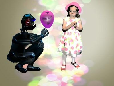 Robot handing balloon to girl
