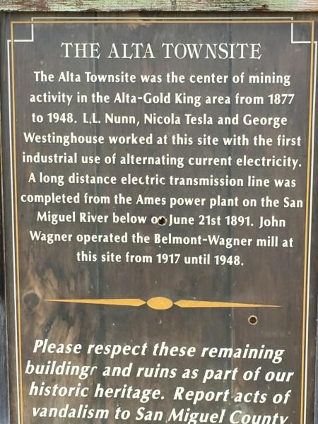 Plaque at Alta