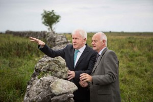 Jimmy Deenihan, Minister for Arts, Heritage and the Gaeltacht speaking to Clare IFA's Michael Davoren after the Minister accepted the European Diploma of Protected Areas Award from the Council of Europe for the sustainable managment of the Burren at a ceremony held in the Michael Cusack, Centre, Carron.