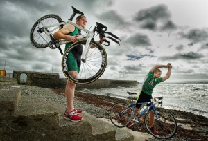 John Cahill and David Brew of Cappa, Kilrush who competed in the World Triathlon Championships in London last Sunday. Photograph by John Kelly.