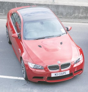 A bird's eye view of the new M3 coupé at Mondello, showing the carbon-fibre roof, which reduces weight and the centre of gravity.
