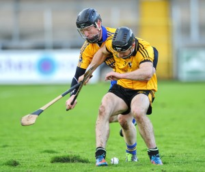 Niall Gilligan of Sixmilebridge, whose experience proved crucial to the win, seen here in action against Domhnall O Donovan of Clonlara during their game at Cusack park. Photograph by John Kelly.