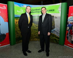 Henry Healy of Ireland Reaching Out (left), with Gerard Dollard, Director of Services, Clare County Council at the Gathering Clare event in Shannon Airport. Photograph by John Mangan