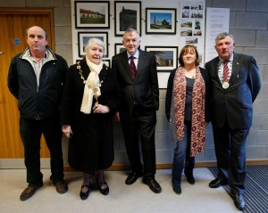From left:   Richard Glynn, who compiled the Killimer-Tarbert Ferry Company exhibition; Cllr Kathleen Leddin, Mayor of Limerick; Professor Don Barry, UL President; Rita McCarthy, chairperson of the Scattery Island Heritage Forum and Cllr John Egan, leas-chathaoirleach of Limerick County Council. pictured at the launch of a photographic exhibition celebrating thehistory of Scattery Island and Kililmer – Tarbert, at the University of Limerick. Photograph by Don Moloney / Press 22