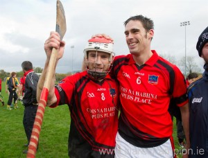 Whitegate's  team captain, Brendan Bugler celebrates with Raymond Cahill, following their win over Feakle in the intermediate county final. Photograph by John Kelly