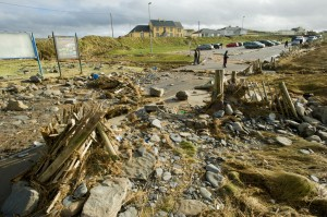 A view of the general destruction caused by last year's flooding at Spanish Point. Photograph by John Kelly.