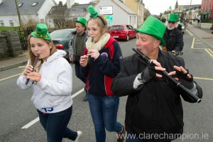 Trad musicians keeping spirits up during the St Patrick's Day Parade at Lisdoonvarna. Photograph by John Kelly.