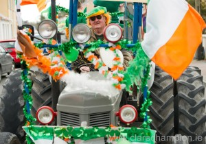 John Looney on a vintage tractor during the St Patrick's Day Parade at Lisdoonvarna. Photograph by John Kelly.