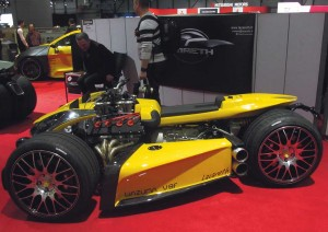 One of the crazier exhibits was this trike, powered by a Ferrari V8. Yes please.