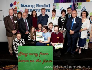 at the Young Social Innovators Showcase in City West hotel in Dublin were Transition Year students from St Josephs' Secondary School, Tulla, and l-r,  John Kennedy, inspector HSA; Tom Murphy, Professional Agricultural Contractors; Martin O'Halloran, CEO, HSA; Prof. Jim Phelan, UCD;  Maura Canning, IFA;  Jim Dockery, Farm Relief Services;  Larry O'Loughlin, Teagasc  and Joanne Harmon, education Manager, HSA.. Photograph by Fennell Photography