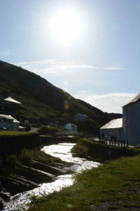 Boscastle with the river flowing into the sea.