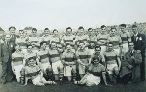 The victorious Clare 1953 team with Ennis native Fr Frank Cassidy. Photograph by John Kelly.