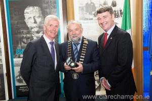 At the launch of the John P  Holland coin; Paul Molumby Central Bank director of currencies; Cathaoirleach of Clare County Council, John Crowe and Peter Heffernan, CEO Marine Institute. Photograph by Andrew Downes
