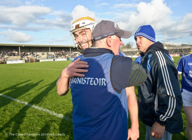 Cratloe's Conor Mc Grath and his dad, the team manager Joe Mc Grath, embrace following the win over Thurles Sarsfields in the Munster Club hurling semi final at Cusack park in Ennis. Photograph by John Kelly.