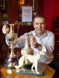 John Quinn of Ennis will be hoping to add yet another trophy to the family collection this year in Clonmel with his dog Quasimodo. Photograph by John Kelly.