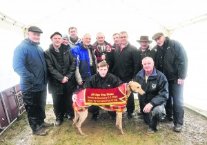Galway and Oranmore Coursing Club ran their midweek meeting at the new Ballinagoul field in Glin. The winner of the All Age Dog Stake was Roquefort Barney. Owned by the Windfarm Syndicate ; owners, Micheal Eustace, Jerry Hughes and Jonathan Newell collect the  Willie Concannon Cup from Owen Horan. Also included are DJ Histon, ICC;  John Browne, Johnny Moroney, trainer, Pat Curtin; Fran Mangan, ICC; Brian Divilly, ICC;  and with the dog Tom Keating and Tom Connor. Photograph by Yvonne Harrington