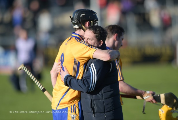 Clare  manager Davy Fitzgerald embraces Pat Donnellan on the final whistle after their NHL Division 1 Round 4 game against Dublin in Cusack Park. Photograph by John Kelly.