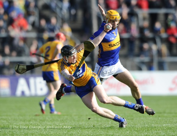 Tony Kelly of Clare in action against Kieran Bergin of Tipperary during their game in Cusack park. Photograph by John Kelly.