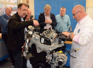 Members of the Irish Motoring Writers Association learning about exhaust emissions technology at DIT, Bolton Street.