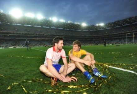 Clare's Darach Honan and Shane O Donnell, who replaced him and went on to score 3-3, share a quiet moment in Croke Park following the All-Ireland in 2013. Photograph by John Kelly.